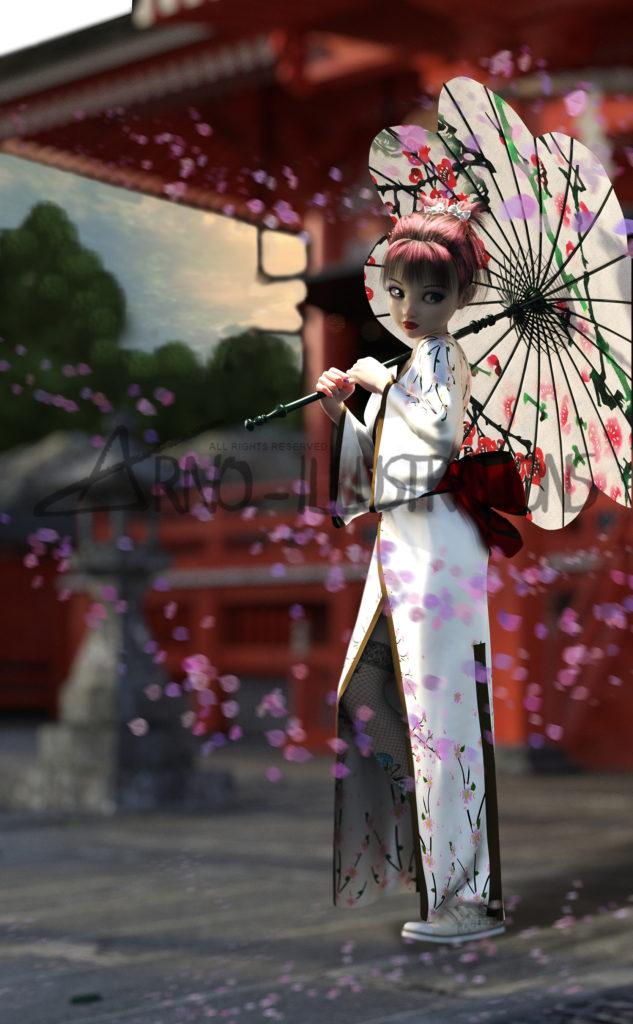 animé-manga girl en kimono