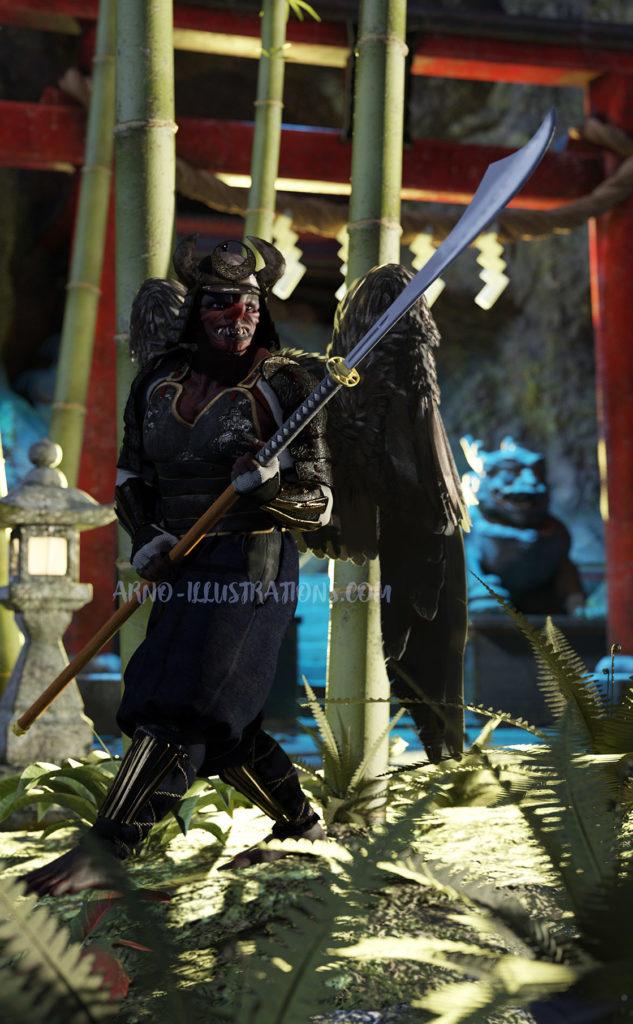 Tengu japonais en armure de samouraï de temple