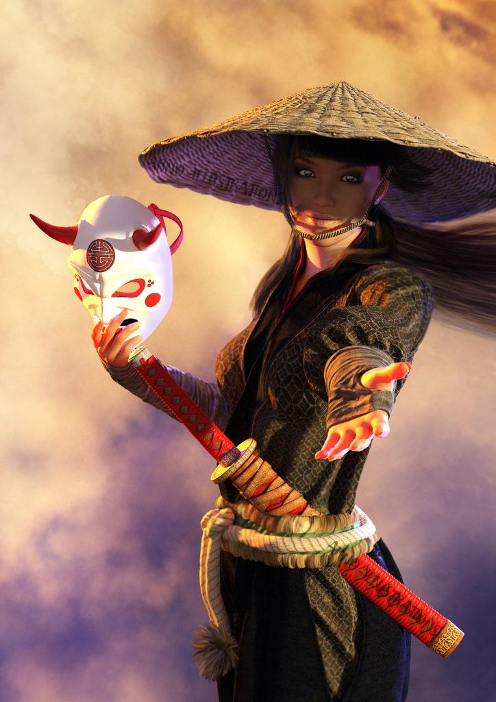 femme samouraï et masque