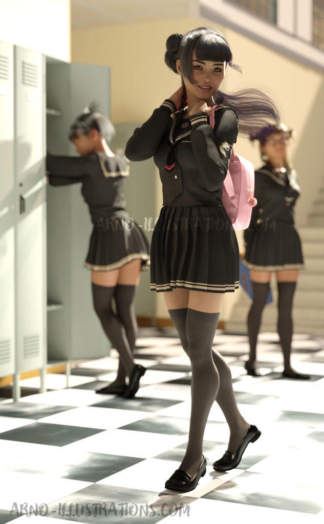 japonaise en uniforme d'étudiante