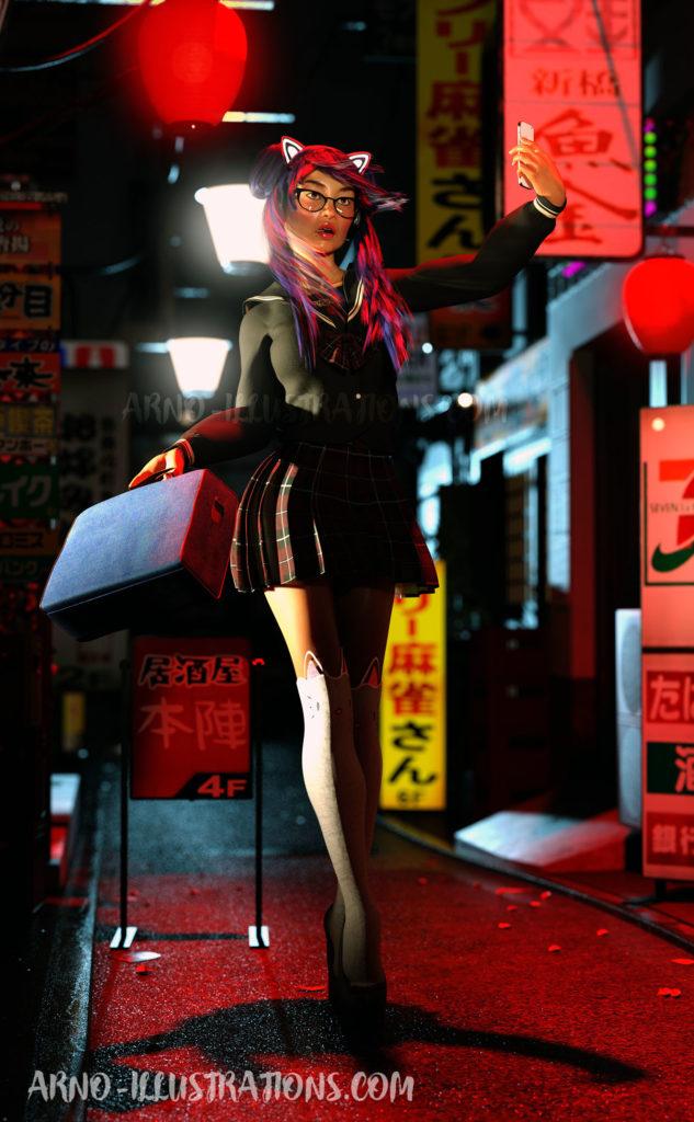 jeune japonaise en costume d'étudiante