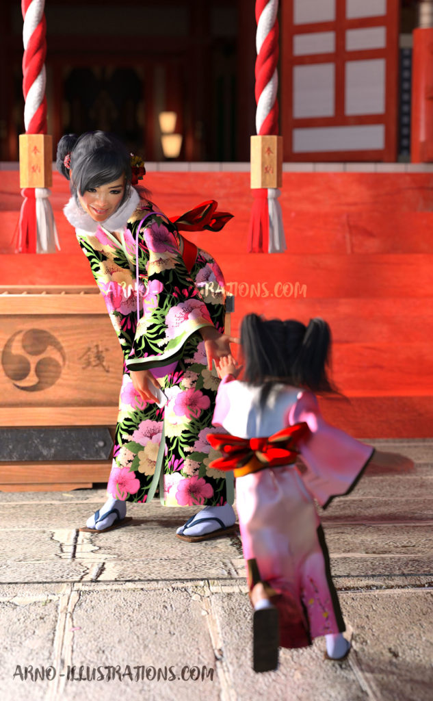 Japanese girls at shinto's temple