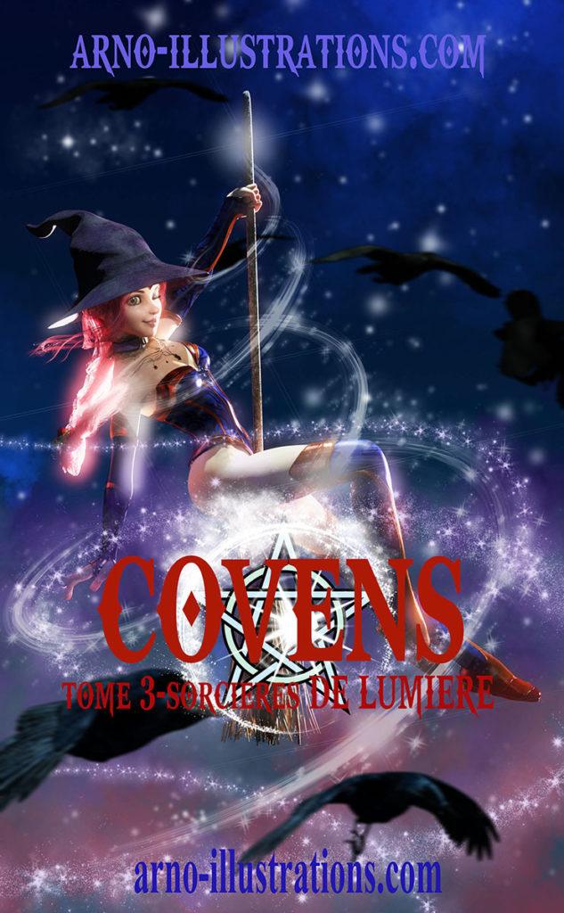illustration couverture livre sorcière sur un balais