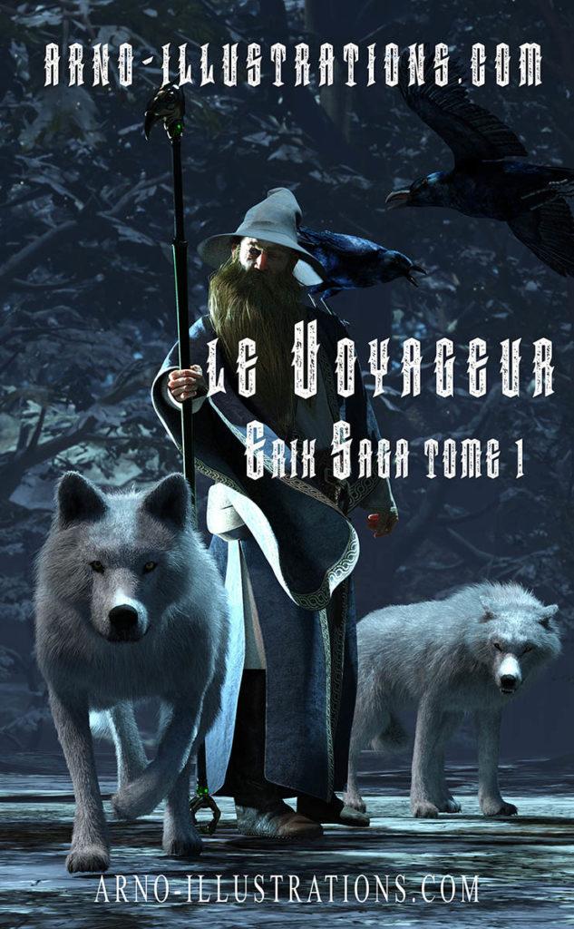 illustration couverture de livre magicien loups et corbeaux