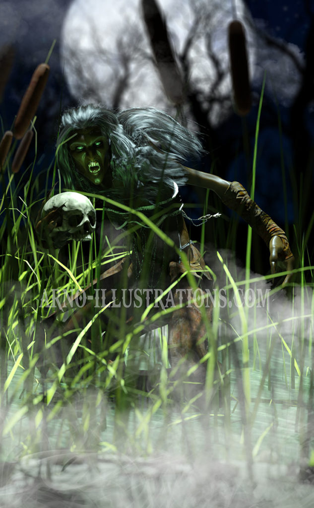 Arno-illustrations swamp witch page d'accueil portfolio
