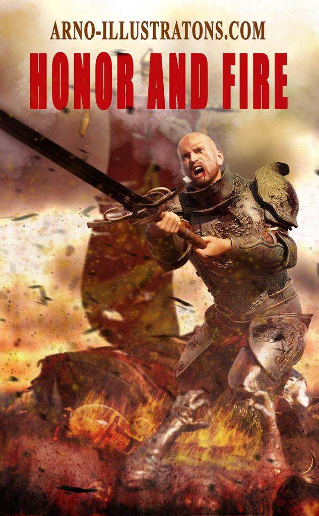 Chevalier,HONNEUR ET FEU-ebook-cover-ARNO-ILLUSTRATIONS.COM