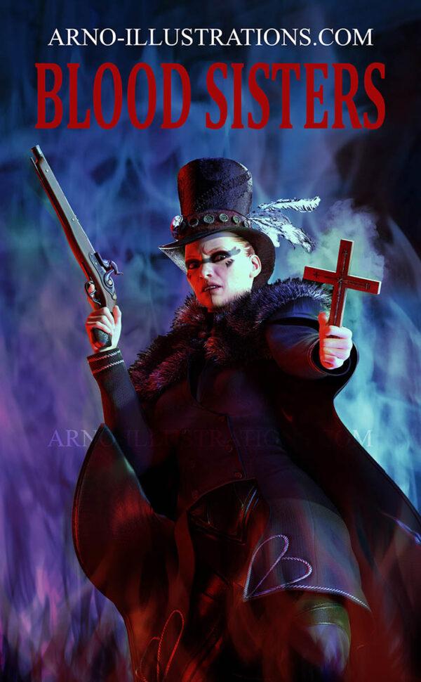 illustrations couverture de livre chasseuse de vampire arno-illustrations