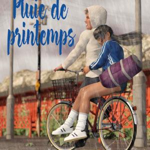 illustration couverture de livre deux adolescents sur un vélo sous la pluie