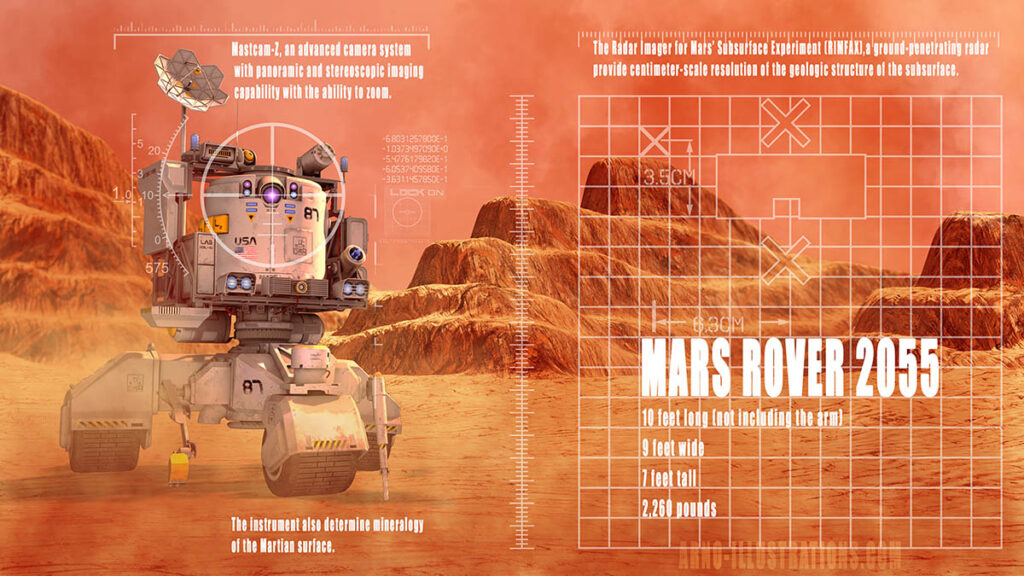 MARTIAN ROVER VEHICULE ILLUSTRATION