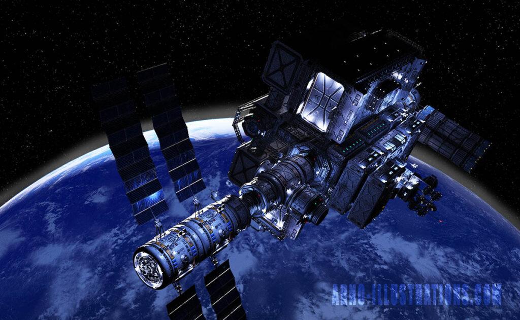 ORBITAL SPACE STATION ILLUSTRATION