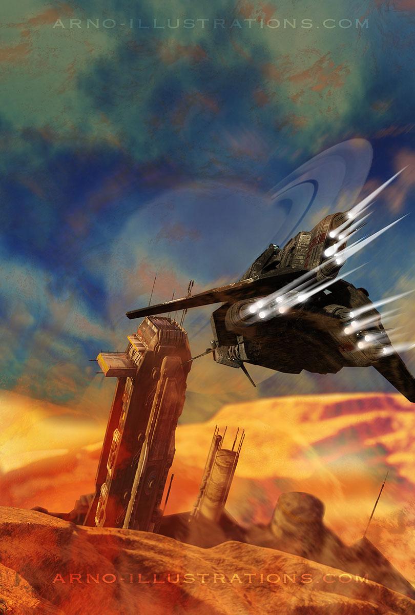 illustration SF vaisseau spatial planète dune