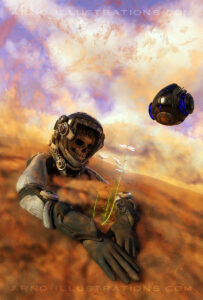 ILLUSTRATION DEAD ASTRONAUT ON PLANET MARS WITH FLOWER