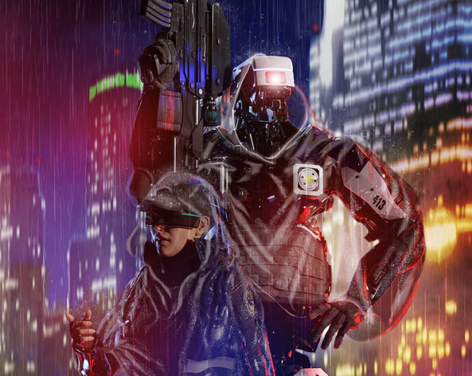 scifi illustrations cops and mecha characters