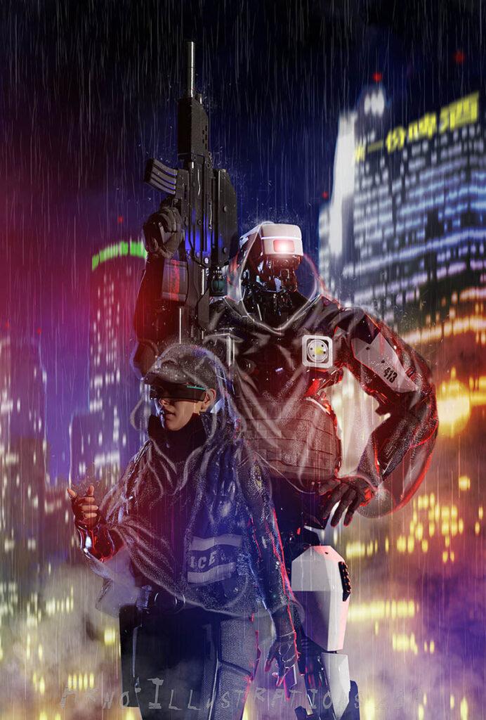 scifi illustrations cops and mecha characters