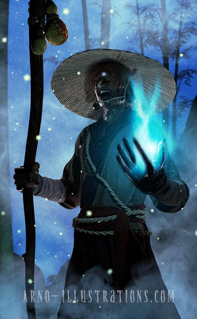 illustration moine japonais fantôme