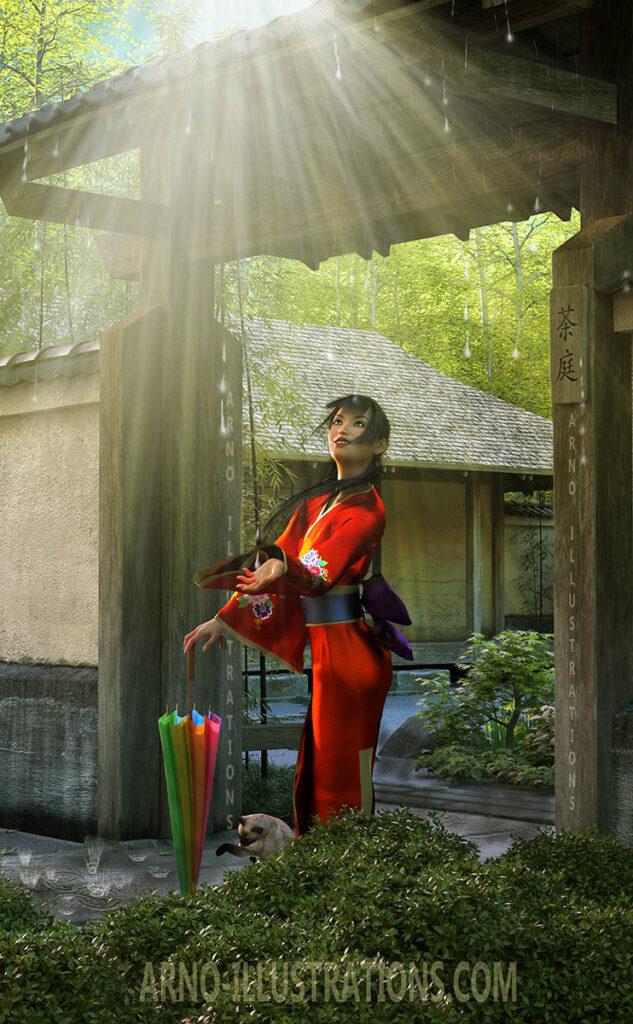 couverture de livregeisha et maison japonaise pluie