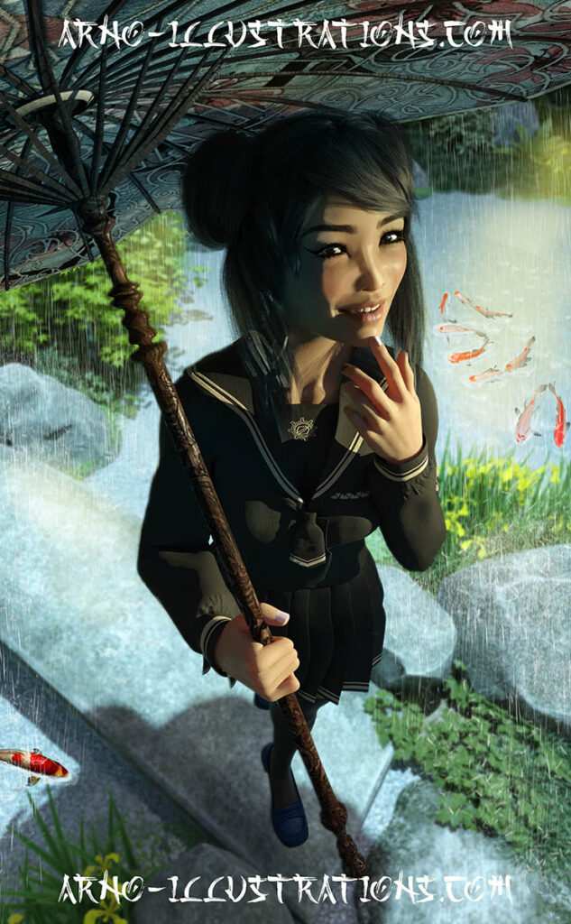 illustration jeune femme japonaise jardin japonais