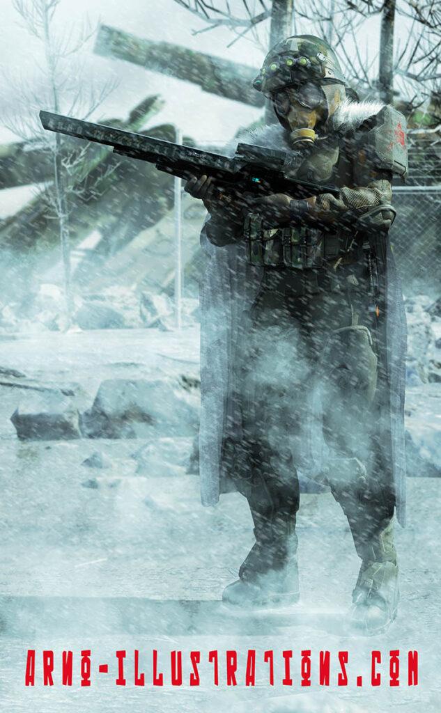 illustration soviet dystopic soldier