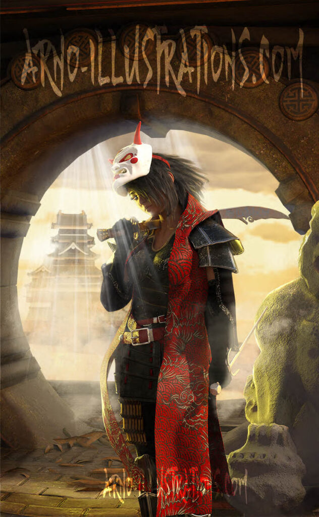Chinese fantasy female warrior illustration