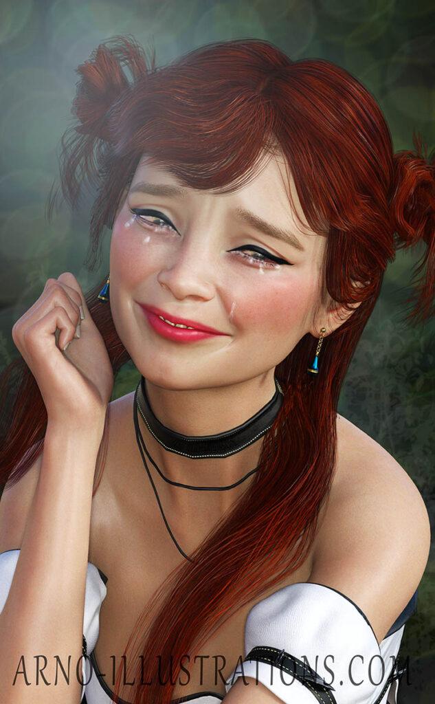 sad red-haired girl illustration