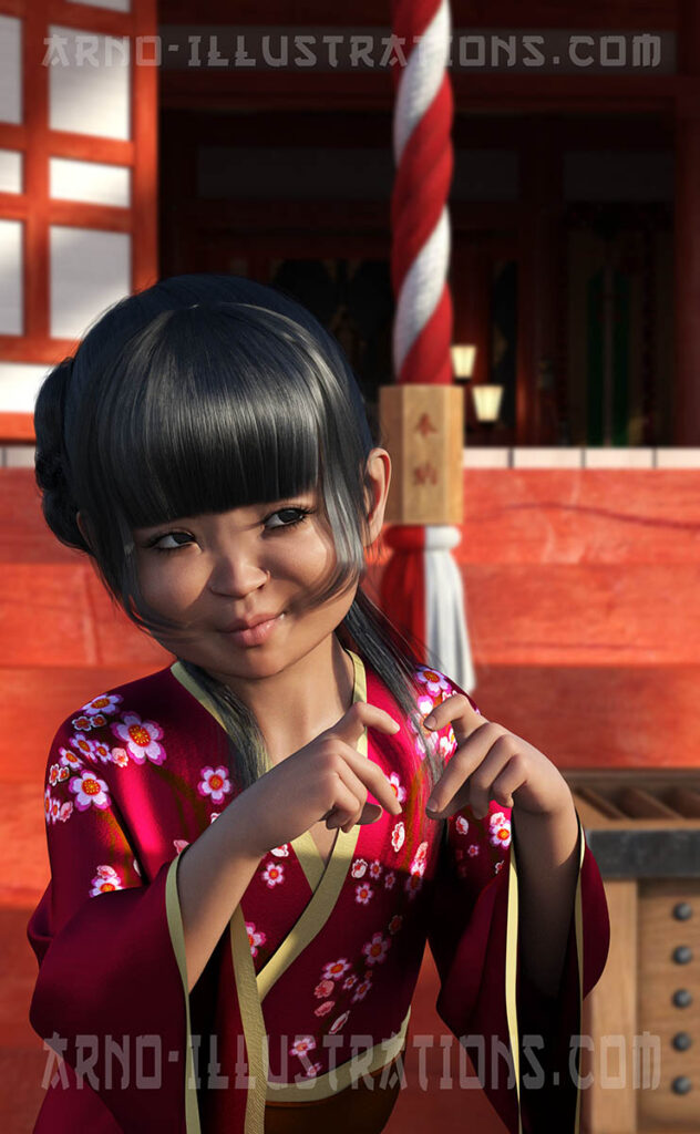 enfant japonais temple illustration